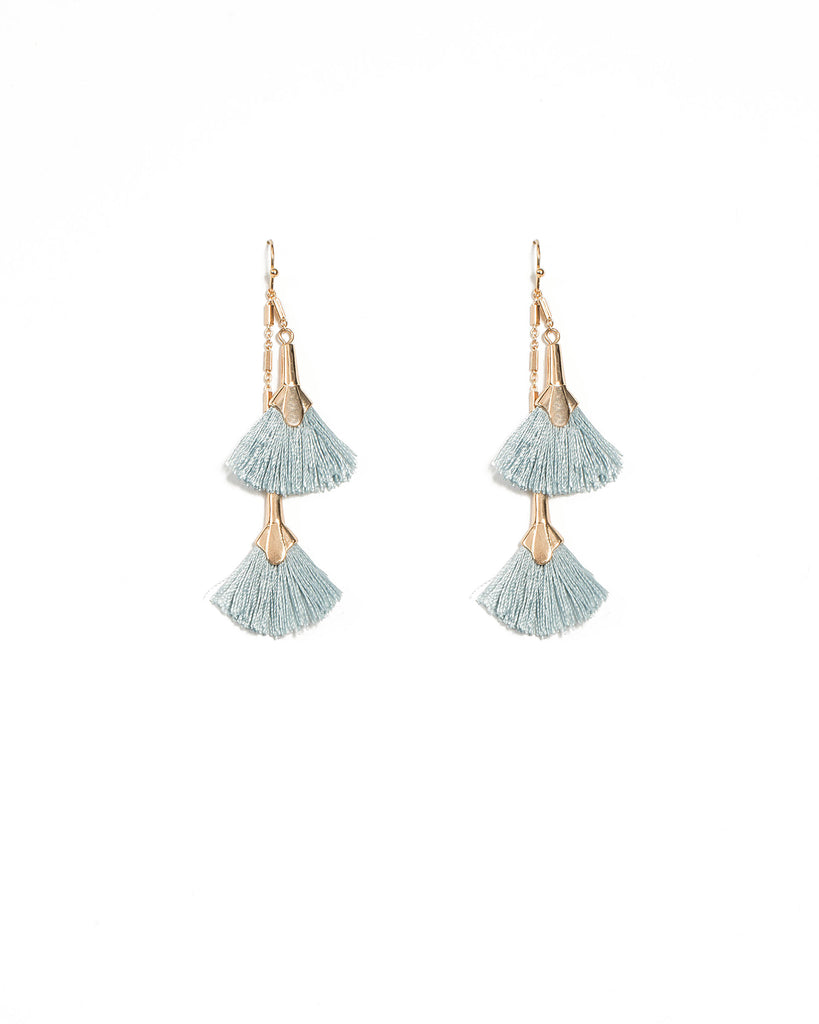Drop Fan Blue Tassel Earrings