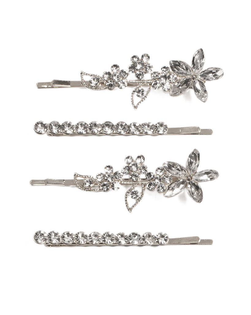 Diamante Stone Flower Silver Hair Pins