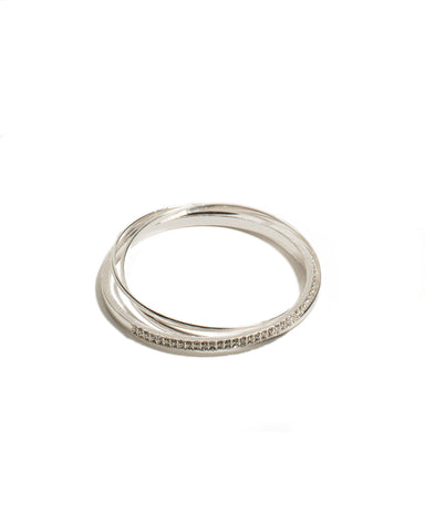 Diamante Silver Bangle Pack