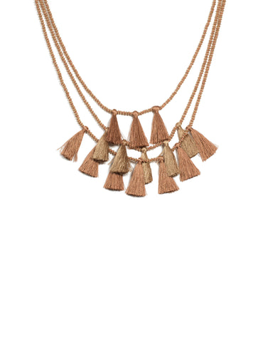 Brown Gold Tone Three Layer Tassel Necklace