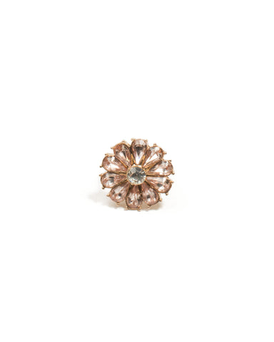 Gold Flower Pink Stone Cocktail Ring - Medium