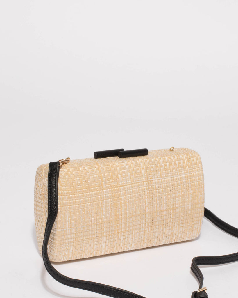 Natural Belinda Weave Tassel Clutch Bag
