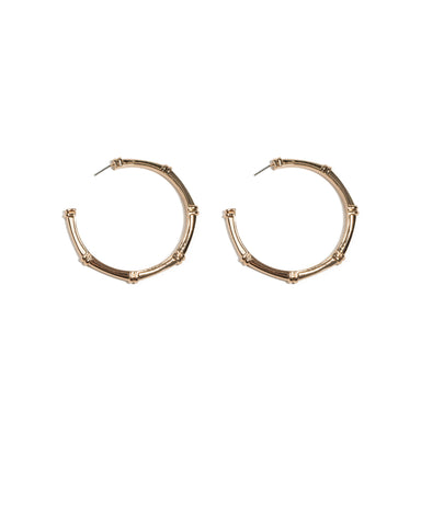 Gold Tone Bamboo Style Hoop Earrings