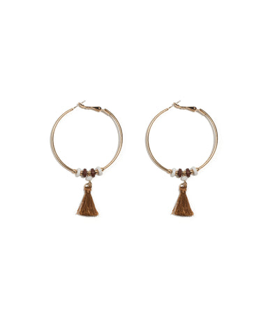 Brown Gold Tone Bead And Tassel Hoop Earrings