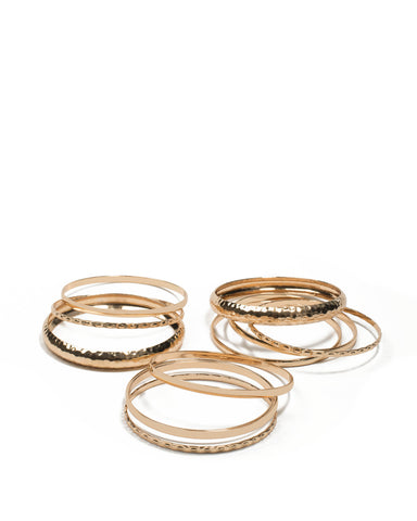 Gold Tone Hammered Metal Bangle Pack