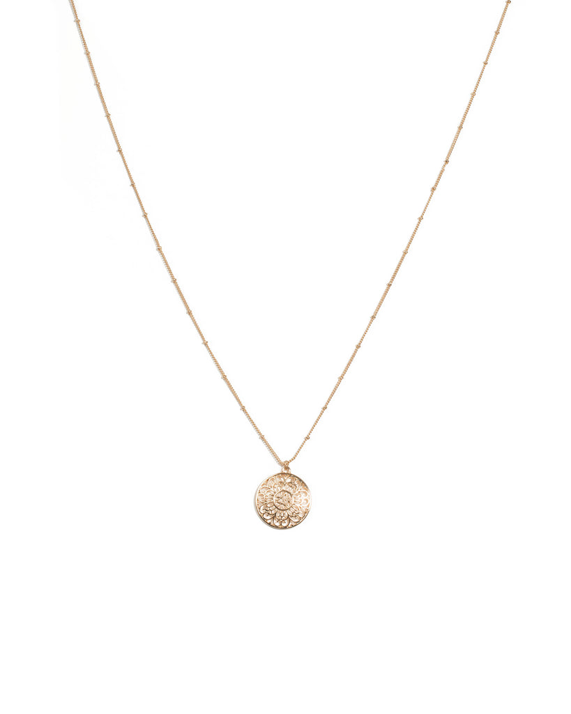 Gold Tone Round Filigree Pendant Necklace