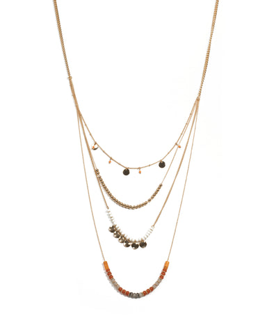 Multi Colour Gold Tone Beaded Layered Necklace