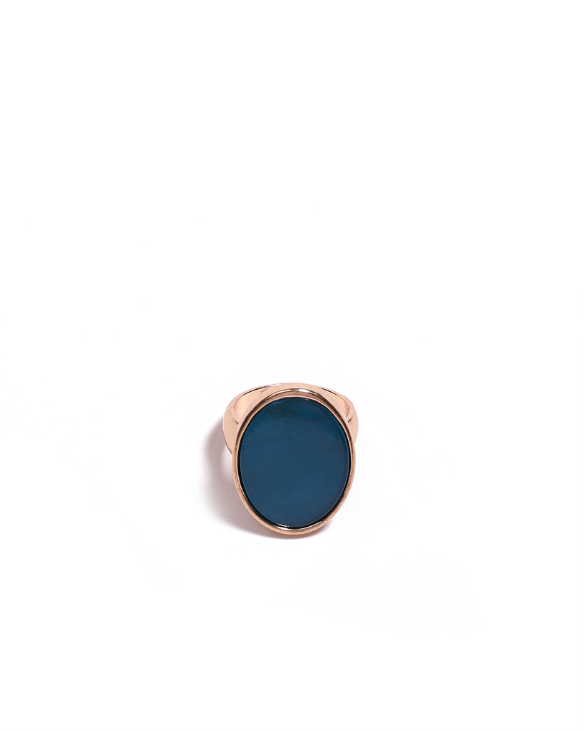 Blue Gold Tone Oval Stone Cocktail Ring - Large