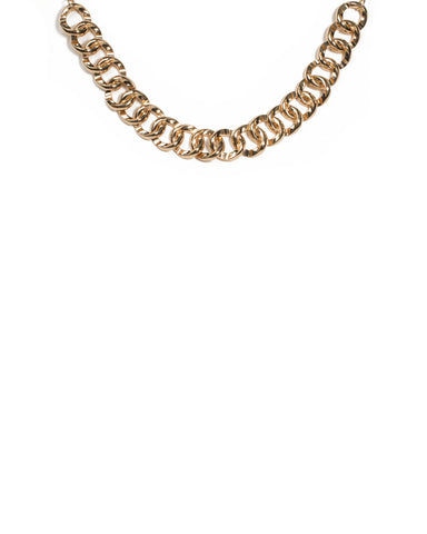 Gold Tone Chunky Chain Choker Necklace