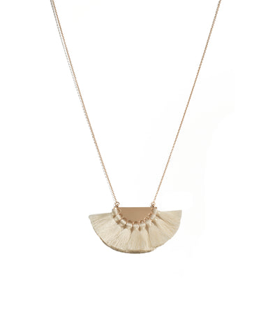 Ivory Gold Tone Tassel Metal Pendant Long Necklace