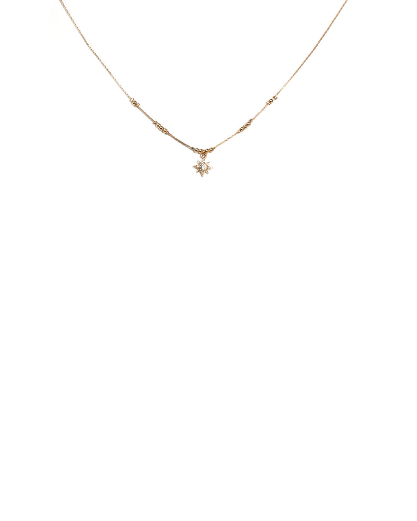 Crystal Gold Tone Star Ball Chain Choker Necklace