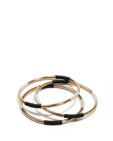 Black Gold Tone Fabric Wrap Bangles Pack