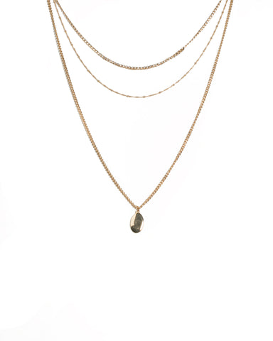 Gold Tone Heavy Chain Detailed Layered Necklace
