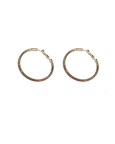 Red Gold Tone Fine Diamante Hoop Earrings