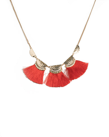 Red Gold Tone Hammered Disk Tassel Necklace