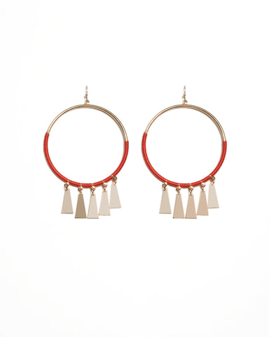 Red Gold Tone Drop Disk Thread Wrap Hoop Earrings