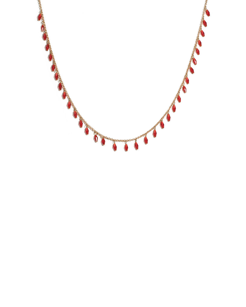 Red Gold Tone Beaded Drop Chain Necklace