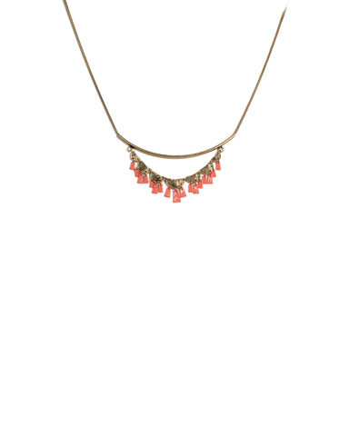 Coral Gold Tone Metal Disk Necklace