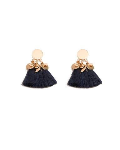 Navy Gold Tone Drop Disk Tassel Statement Earrings