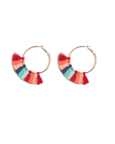 Multi Colour Gold Tone Multi Tassel Hoop Earrings