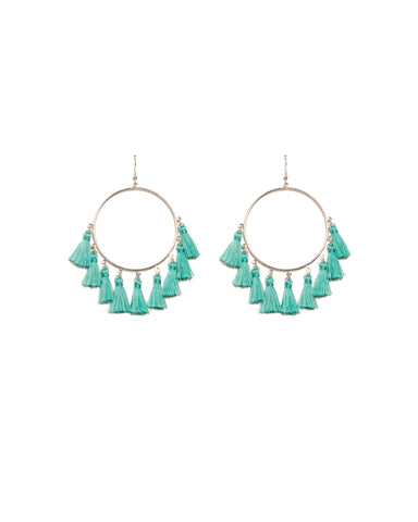 Blue Silver Tone Multi Tassel Hoop Earrings