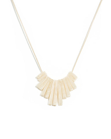 Ivory Gold Tone Acrylic Bar Drop Statement Necklace