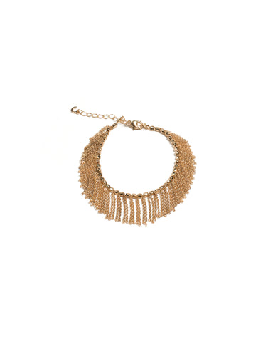 Gold Tone Chain Tassel Arm Cuff