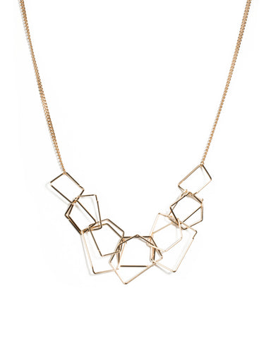 Gold Tone Mix Metal Link Statement Necklace