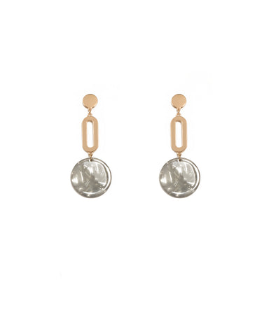 Grey Gold Tone Acrylic Drop Statement Earrings