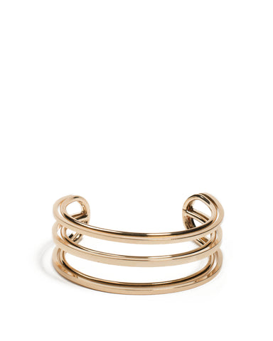 Gold Tone Double Metal Row Cuff Wristwear