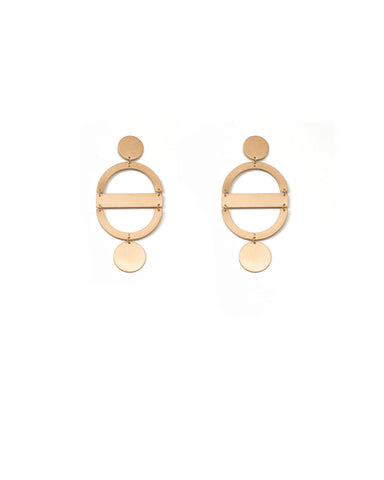 Brushed Gold Tone Linking Metal Disk Statement Earrings