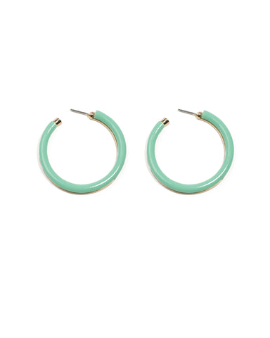 Green Gold Tone Acrylic Hoop Earrings