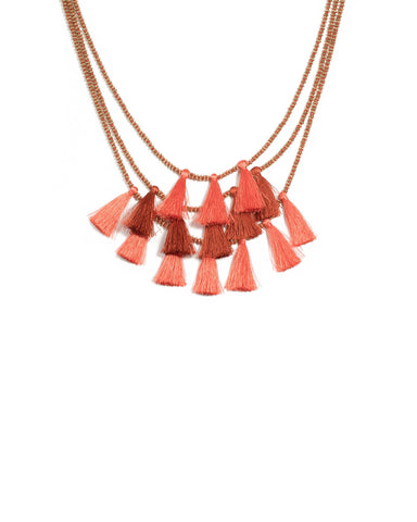 Coral Gold Tone Three Layer Tassel Necklace