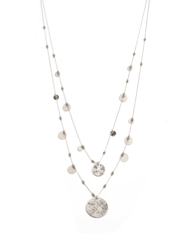 Silver Tone Textured Disc Long Necklace