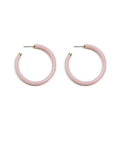 Pink Gold Tone Acrylic Hoop Earrings