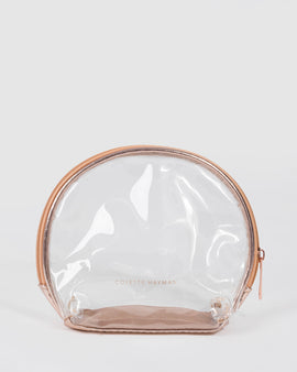 Rose Gold Clear Make Up Bag