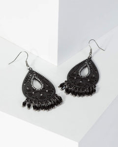 Colette by Colette Hayman Black Filigree Tear Drop Tassel Earrings