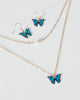 Colette by Colette Hayman Blue Coloured Butterfly Earring Necklace Set