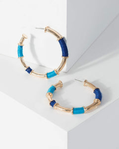 Colette by Colette Hayman Blue Thread Wrapped Oversize Hoop Earrings