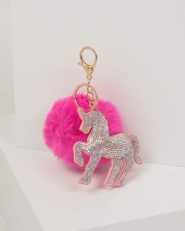 Fuchsia Unicorn Diamante Keyring