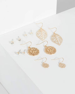 Colette by Colette Hayman Gold 6 Pack Filigree Mix Earrings