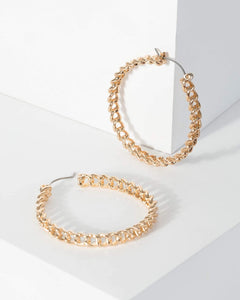 Colette by Colette Hayman Gold Chain Detail Hoop Earrings