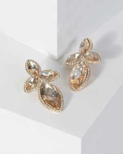 Colette by Colette Hayman Gold Crystal Cluster Drop Earrings
