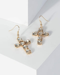 Colette by Colette Hayman Gold Crystal Cross Earrings