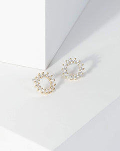 Colette by Colette Hayman Gold Crystal Halo Stud Earrings