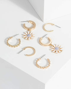 Colette by Colette Hayman Gold Daisy Huggie Earrings Pack