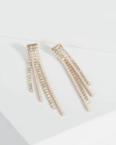 Colette by Colette Hayman Gold Diamante And Detail Tassel Drop Earrings
