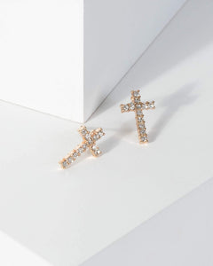 Colette by Colette Hayman Gold Diamante Detail Cross Earrings