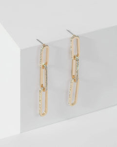 Colette by Colette Hayman Gold Diamante Linked Chain Drop Earrings