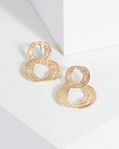 Colette by Colette Hayman Gold Double Linked Metal Detail Hoop Earrings